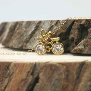 Gold Bicycle Zirconia Pendant Necklace